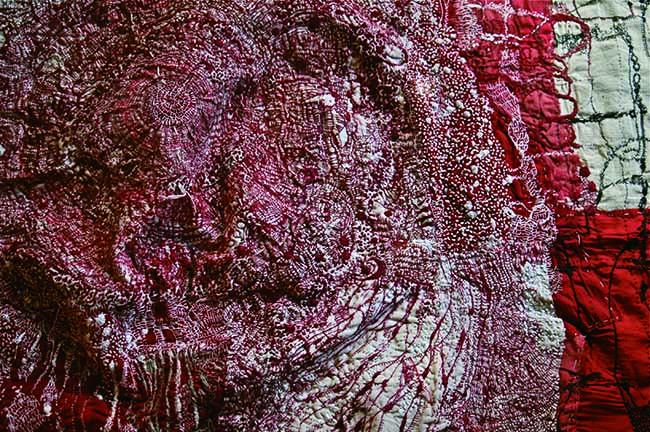 「midnight 」(部分) 2016 絹 木綿布 絹糸 木綿糸